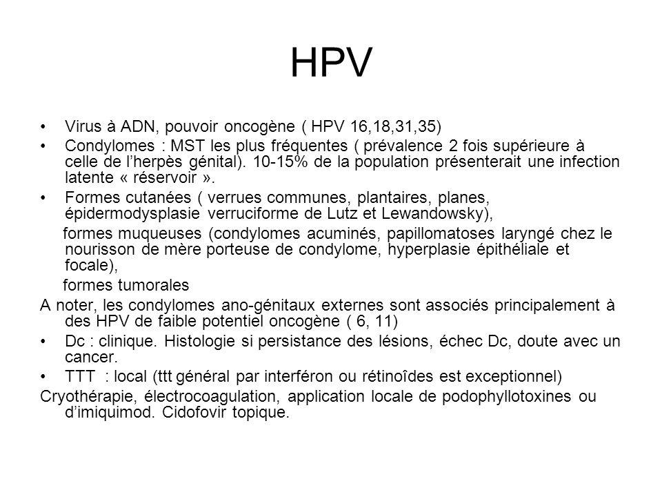 HPV Virus à ADN, pouvoir oncogène ( HPV 16,18,31,35)