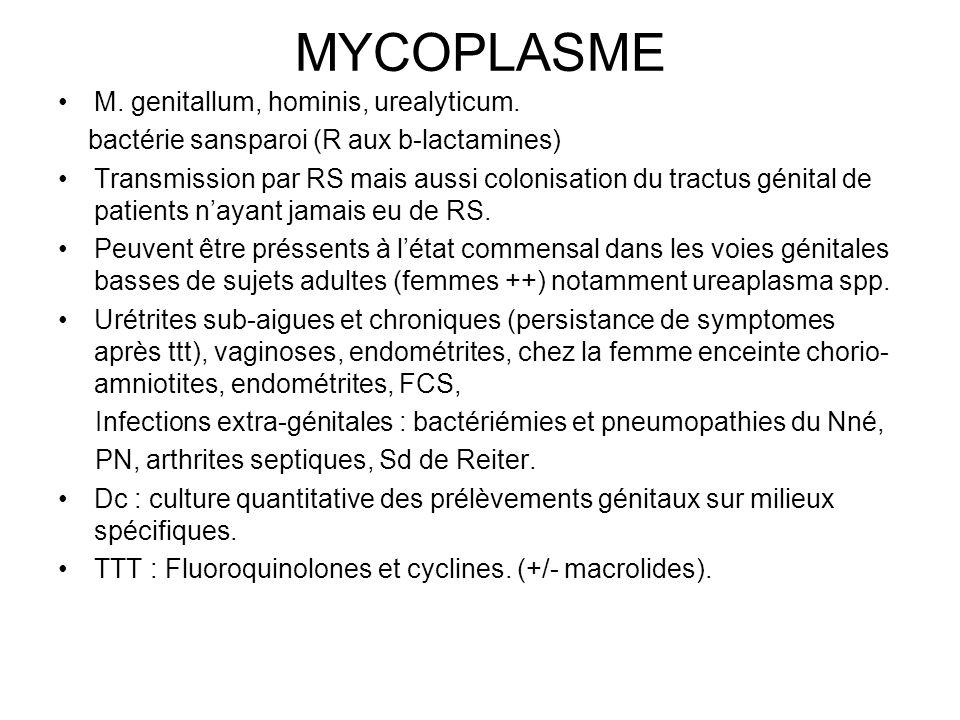 MYCOPLASME M. genitallum, hominis, urealyticum.