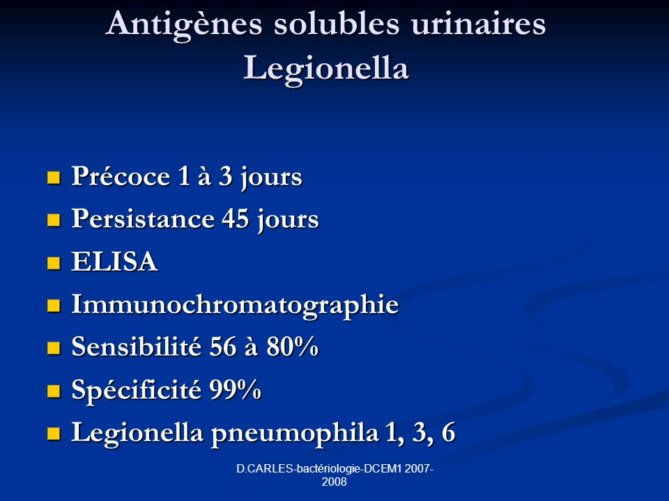 Antigènes solubles urinaires Legionella