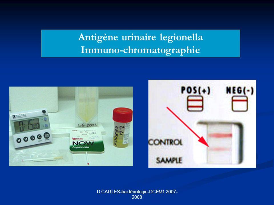 Antigène urinaire legionella Immuno-chromatographie