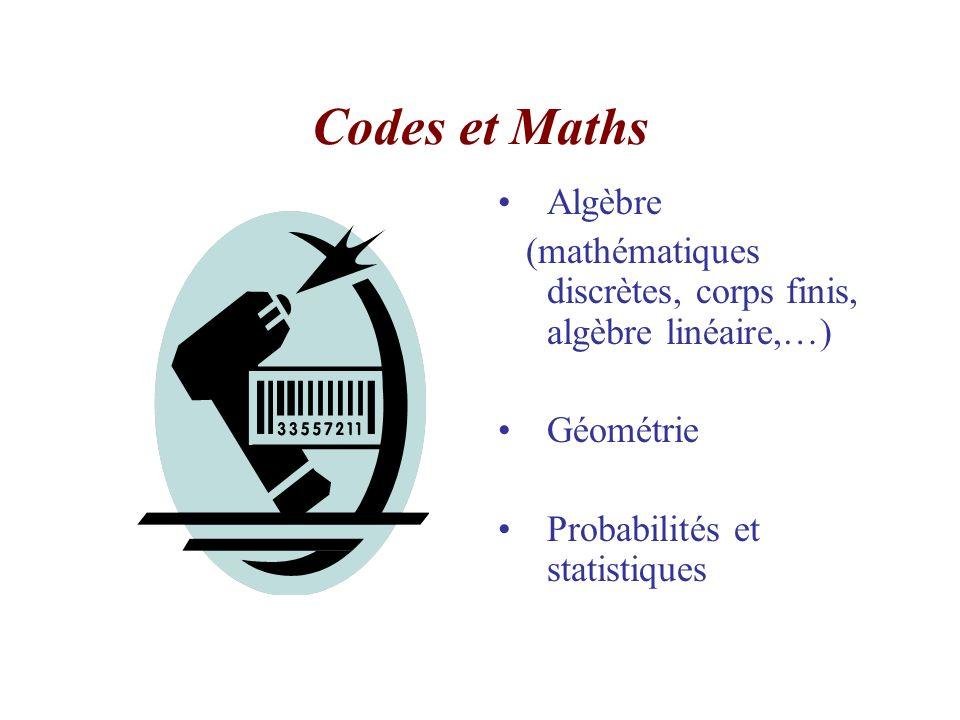 Codes et Maths Algèbre. (mathématiques discrètes, corps finis, algèbre linéaire,…) Géométrie.