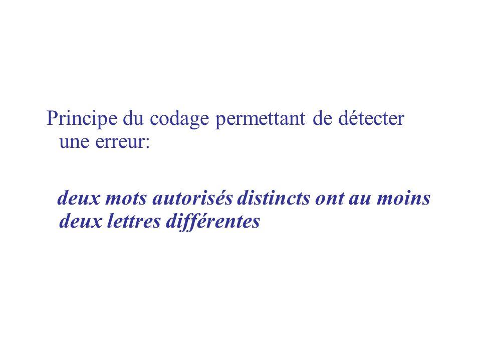 Principe du codage permettant de détecter une erreur:
