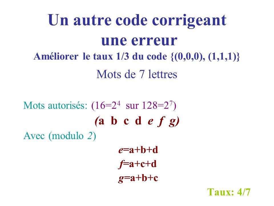 Un autre code corrigeant une erreur Améliorer le taux 1/3 du code {(0,0,0), (1,1,1)}