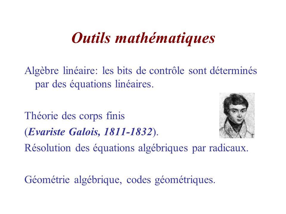 Outils mathématiques Algèbre linéaire: les bits de contrôle sont déterminés par des équations linéaires.