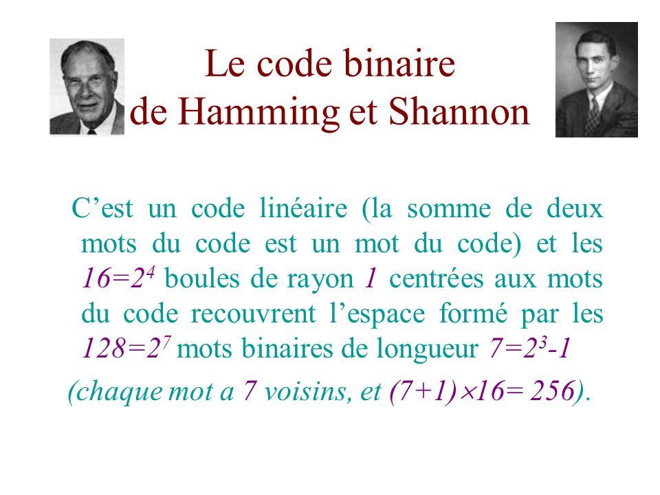 Le code binaire de Hamming et Shannon