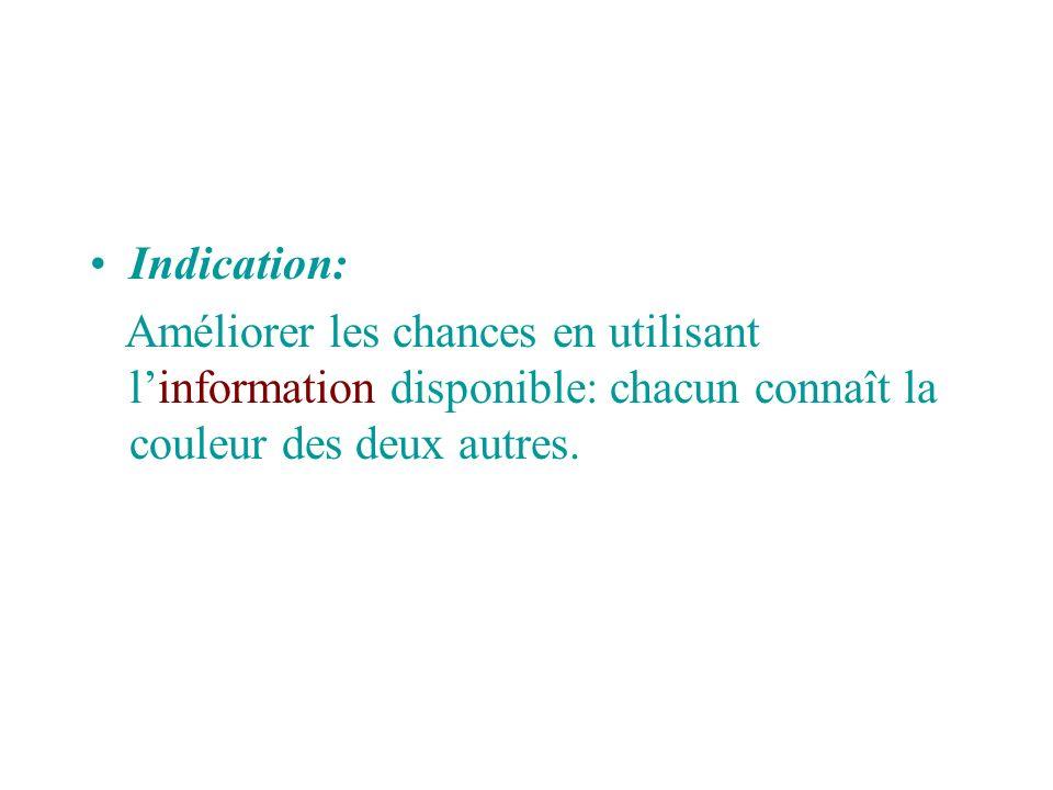 Indication: Améliorer les chances en utilisant l'information disponible: chacun connaît la couleur des deux autres.