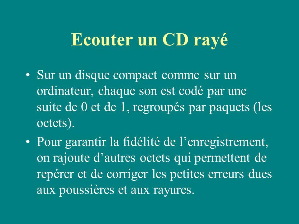 Ecouter un CD rayé Sur un disque compact comme sur un ordinateur, chaque son est codé par une suite de 0 et de 1, regroupés par paquets (les octets).