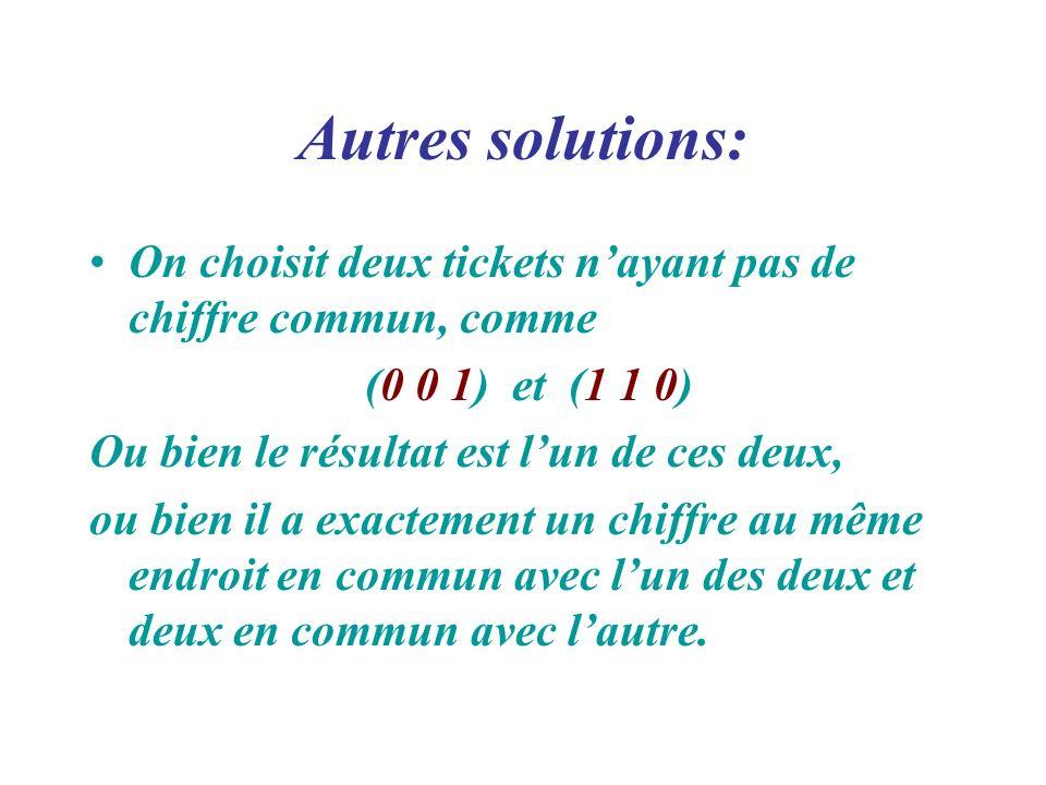 Autres solutions: On choisit deux tickets n'ayant pas de chiffre commun, comme. (0 0 1) et (1 1 0)