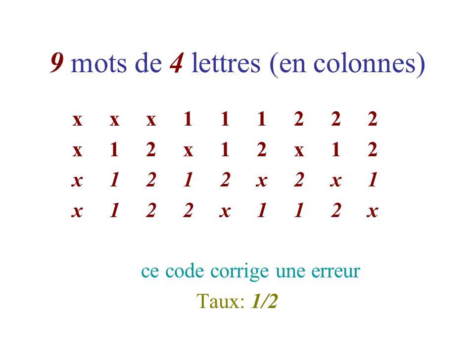 9 mots de 4 lettres (en colonnes)