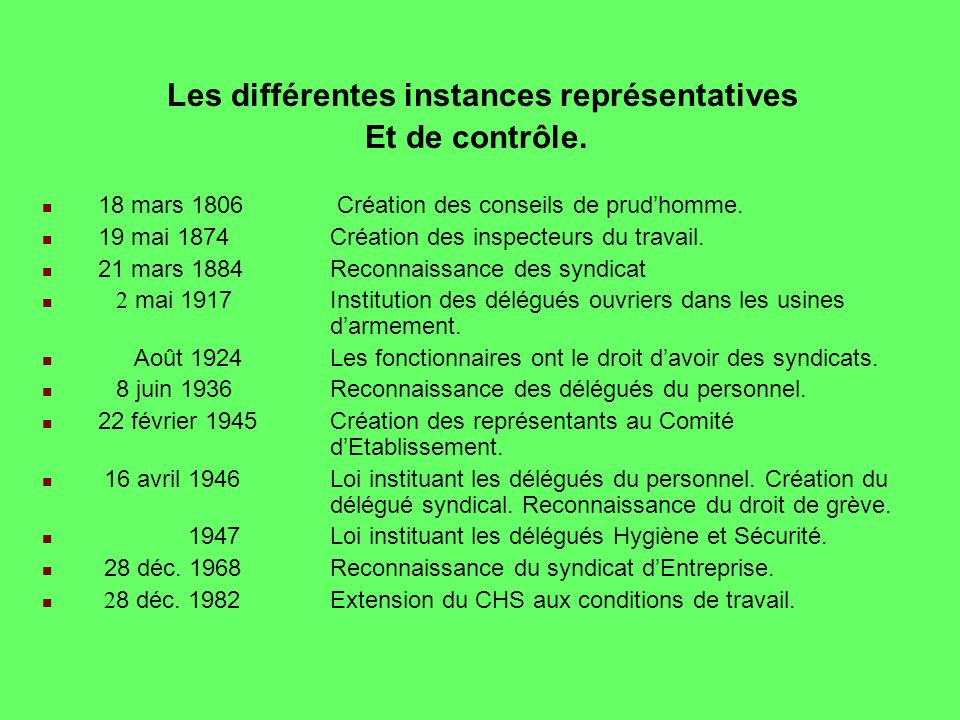 Les différentes instances représentatives