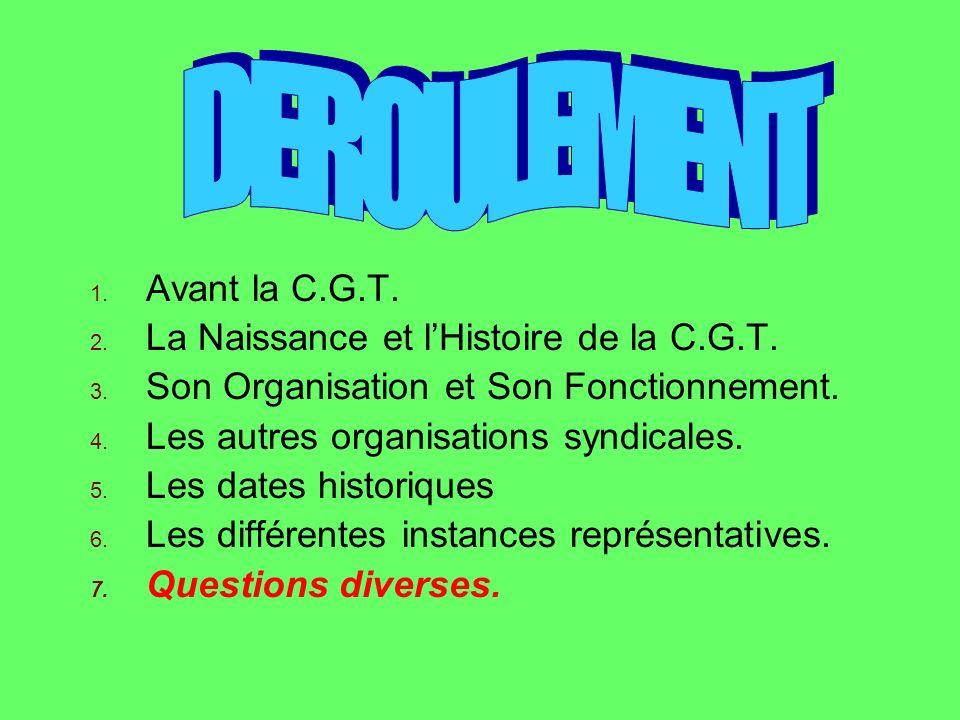 DEROULEMENT Avant la C.G.T. La Naissance et l'Histoire de la C.G.T.