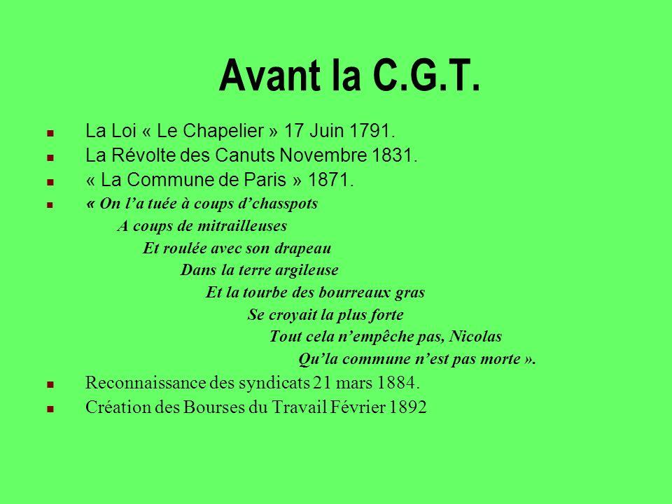 Avant la C.G.T. La Loi « Le Chapelier » 17 Juin 1791.