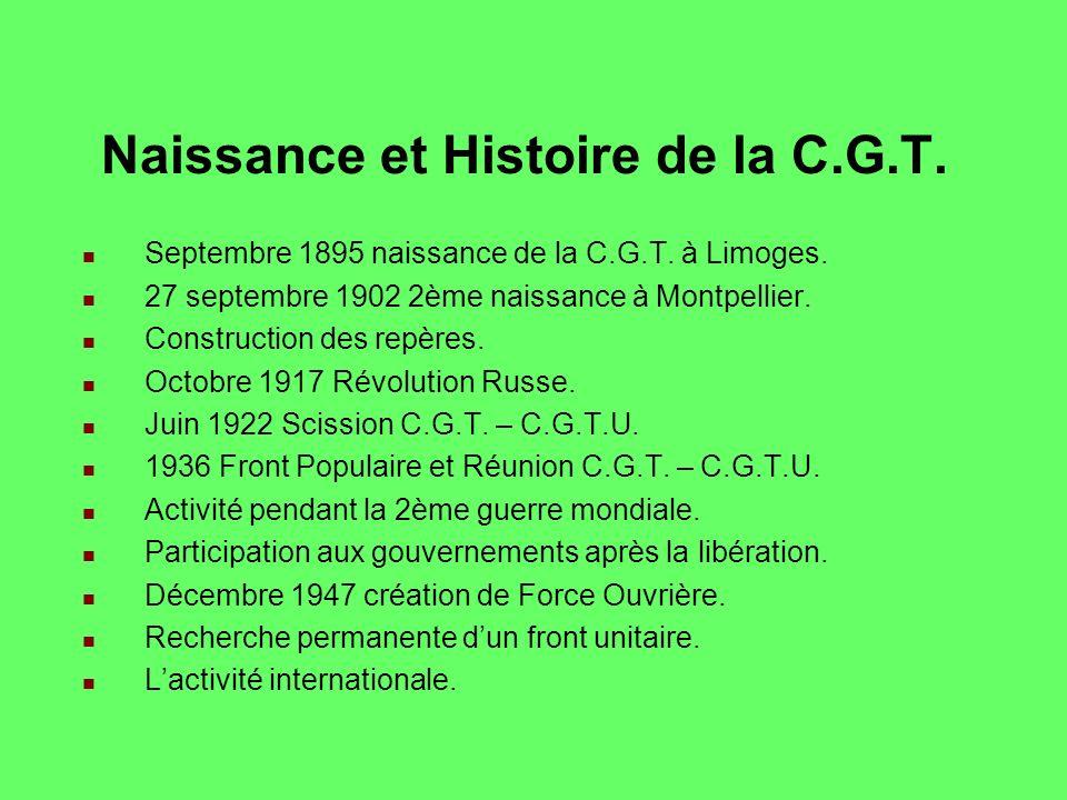 Naissance et Histoire de la C.G.T.