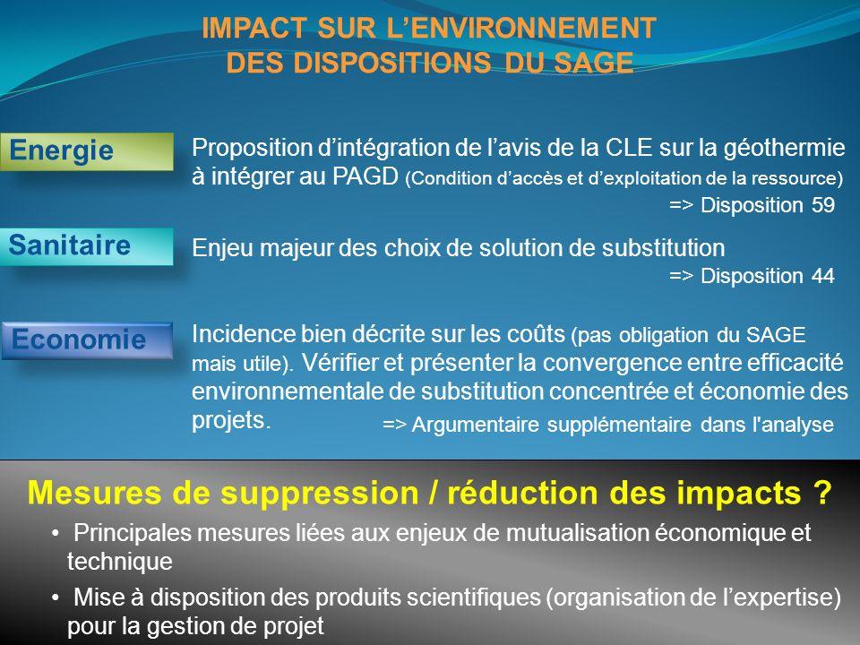 IMPACT SUR L'ENVIRONNEMENT DES DISPOSITIONS DU SAGE