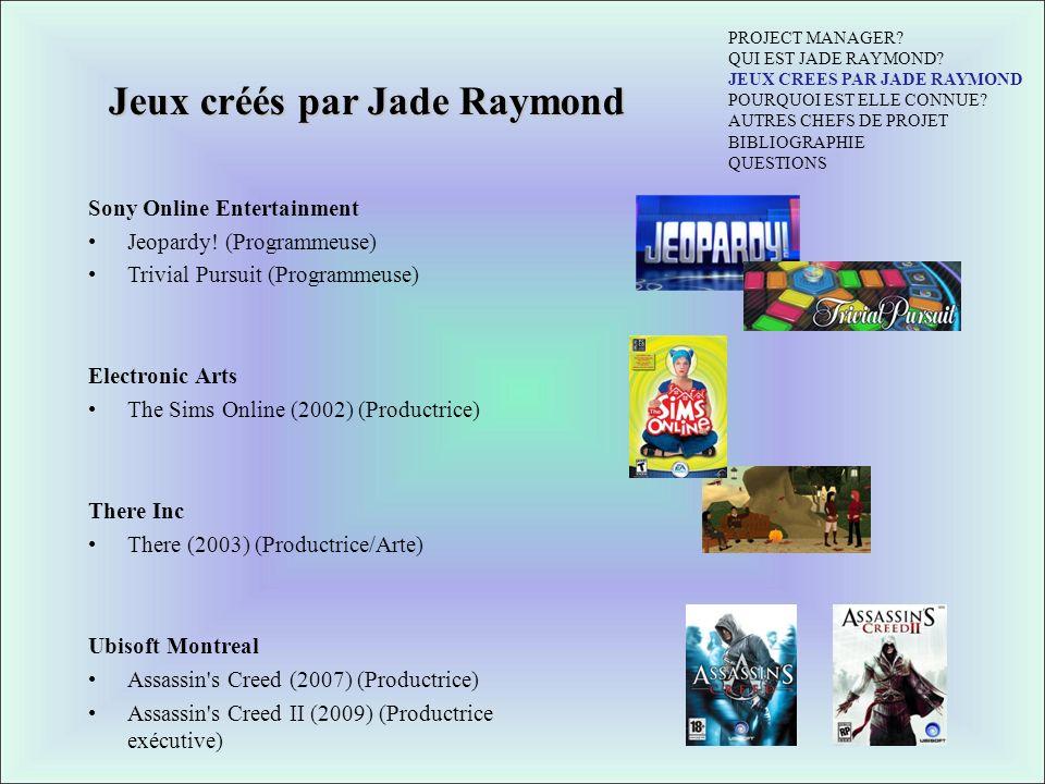 Jeux créés par Jade Raymond
