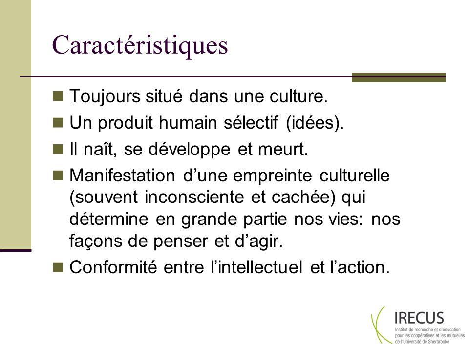 Caractéristiques Toujours situé dans une culture.