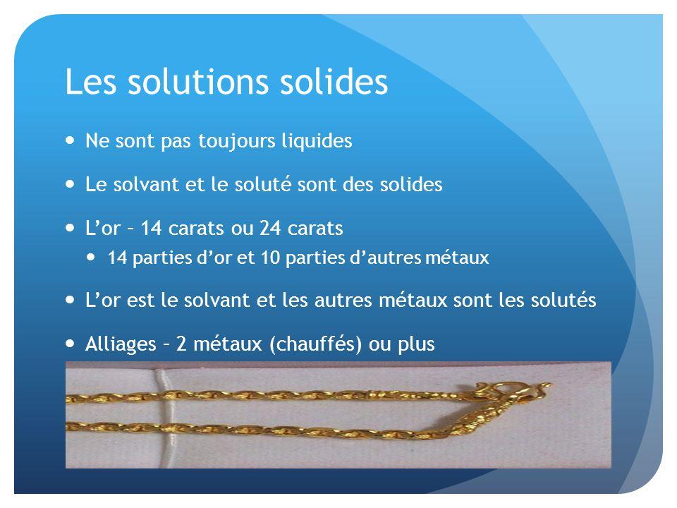 Les solutions solides Ne sont pas toujours liquides