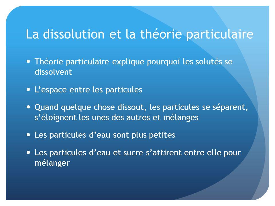 La dissolution et la théorie particulaire