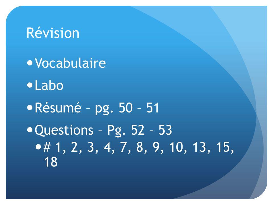 Révision Vocabulaire Labo Résumé – pg. 50 – 51 Questions – Pg. 52 – 53