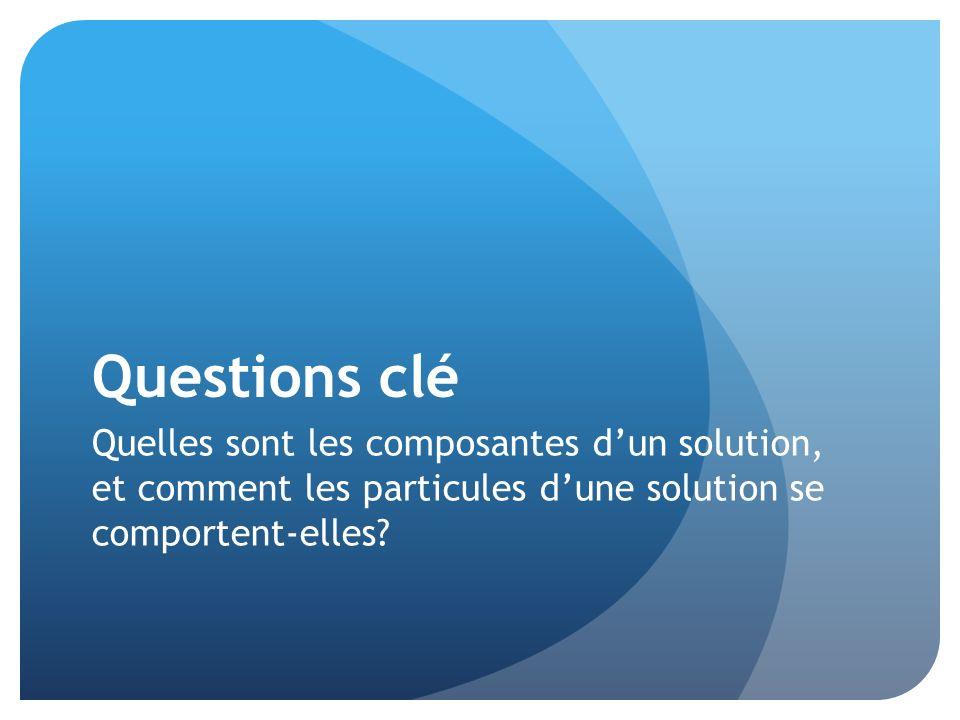 Questions clé Quelles sont les composantes d'un solution, et comment les particules d'une solution se comportent-elles