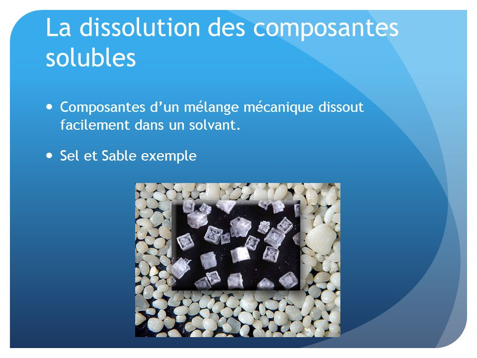 La dissolution des composantes solubles