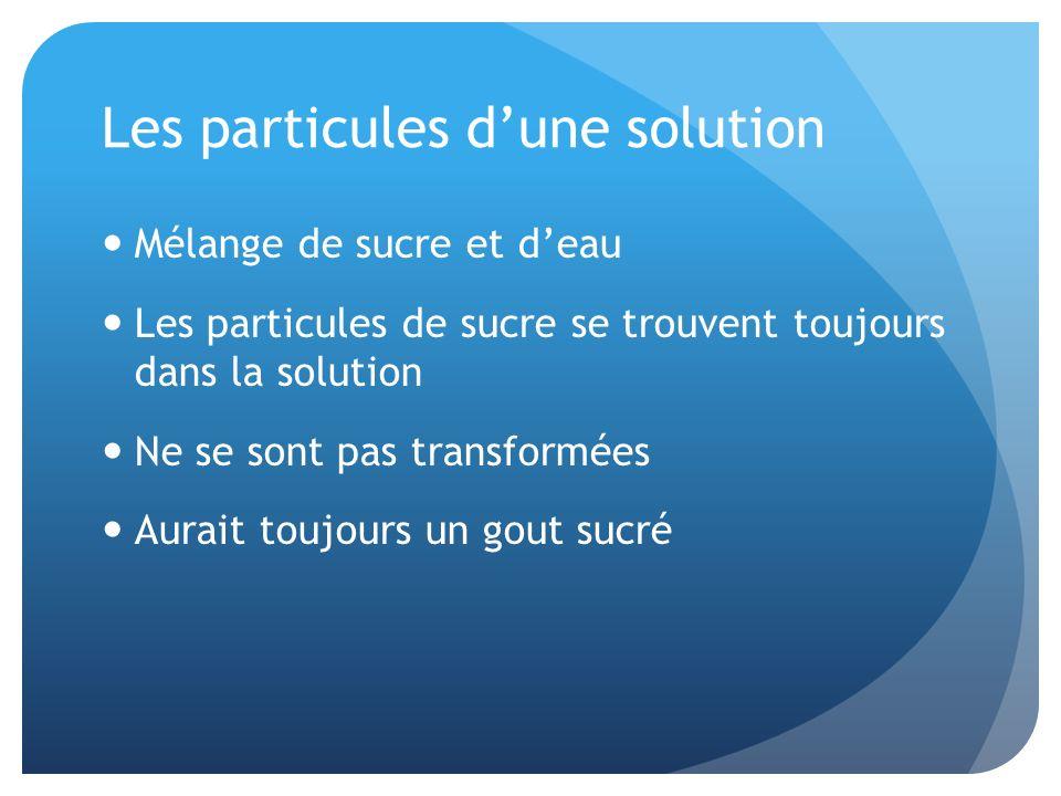 Les particules d'une solution
