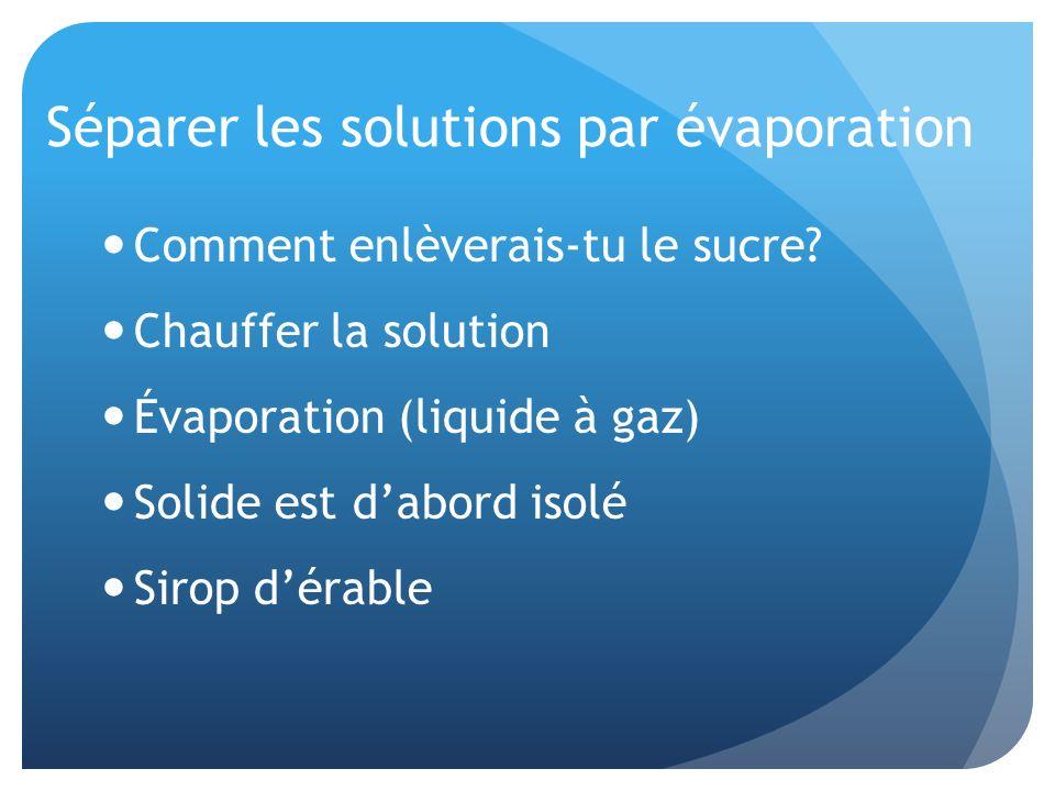 Séparer les solutions par évaporation