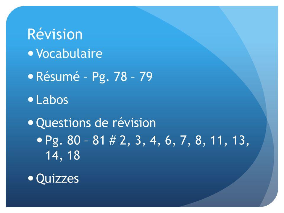 Révision Vocabulaire Résumé – Pg. 78 – 79 Labos Questions de révision