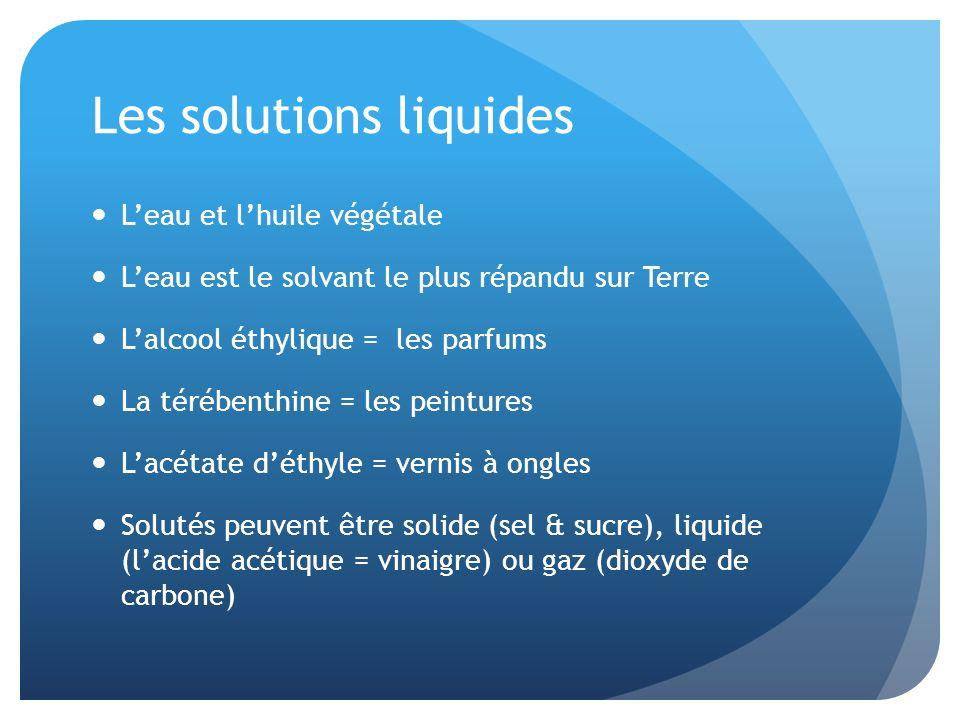 Les solutions liquides