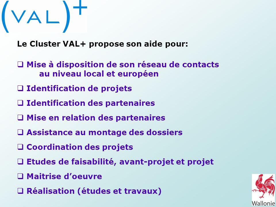 Le Cluster VAL+ propose son aide pour:
