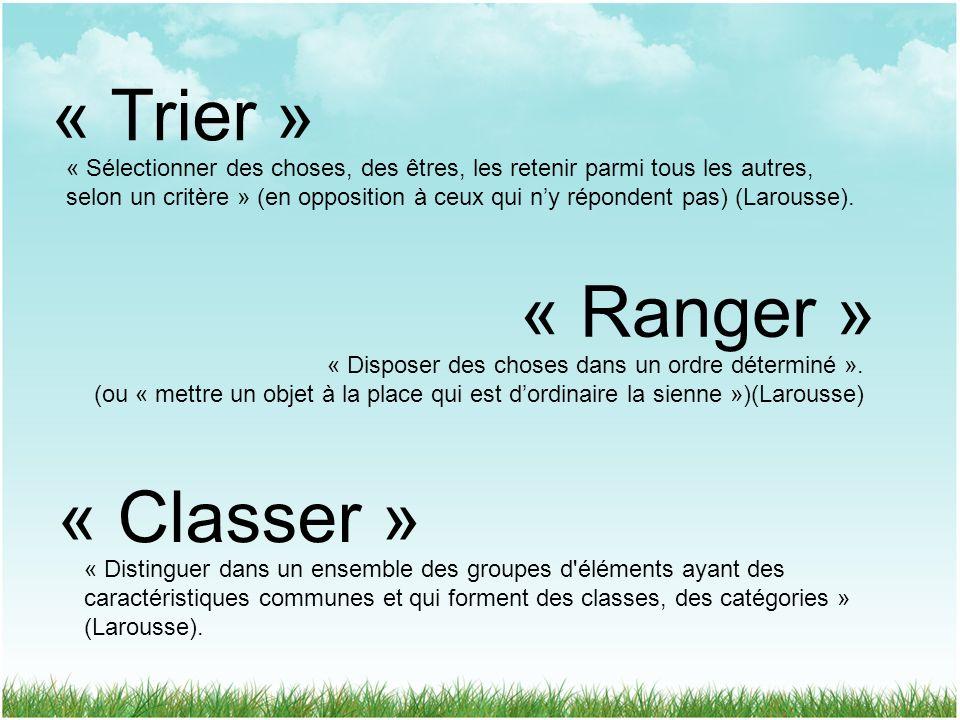« Trier » « Ranger » « Classer »