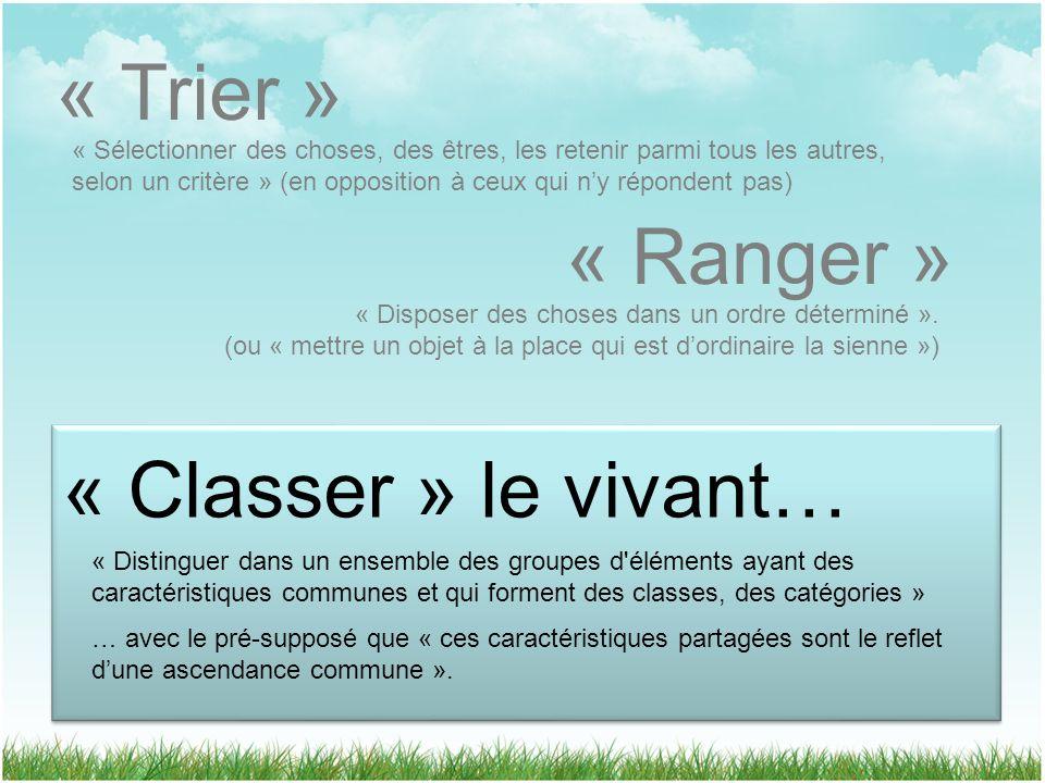« Trier » « Ranger » « Classer » le vivant…