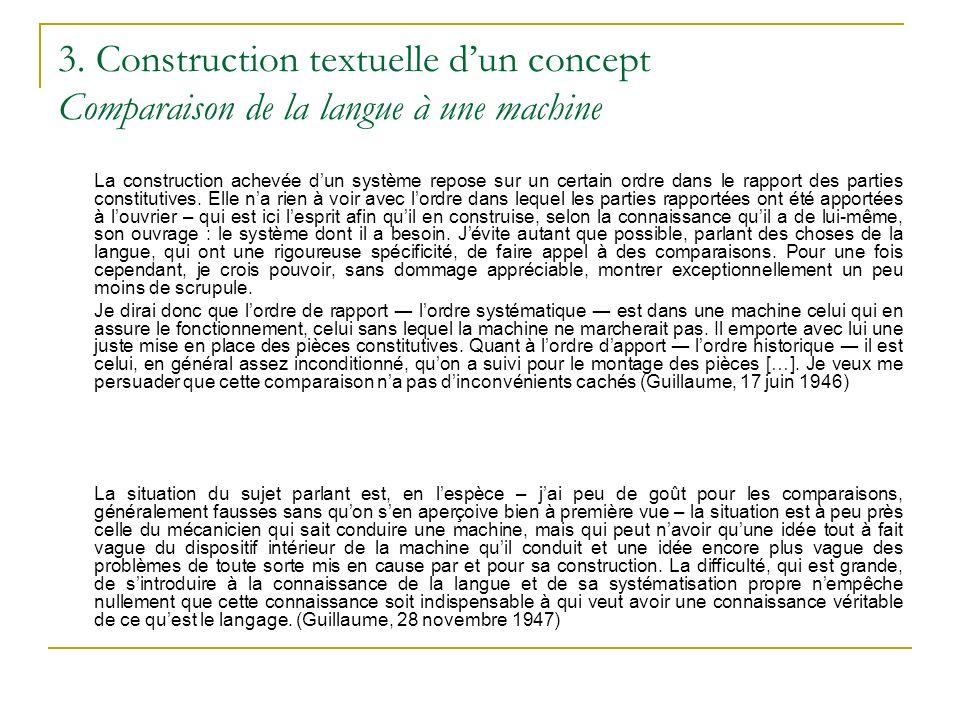 3. Construction textuelle d'un concept Comparaison de la langue à une machine