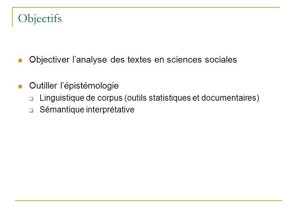 Objectifs Objectiver l'analyse des textes en sciences sociales
