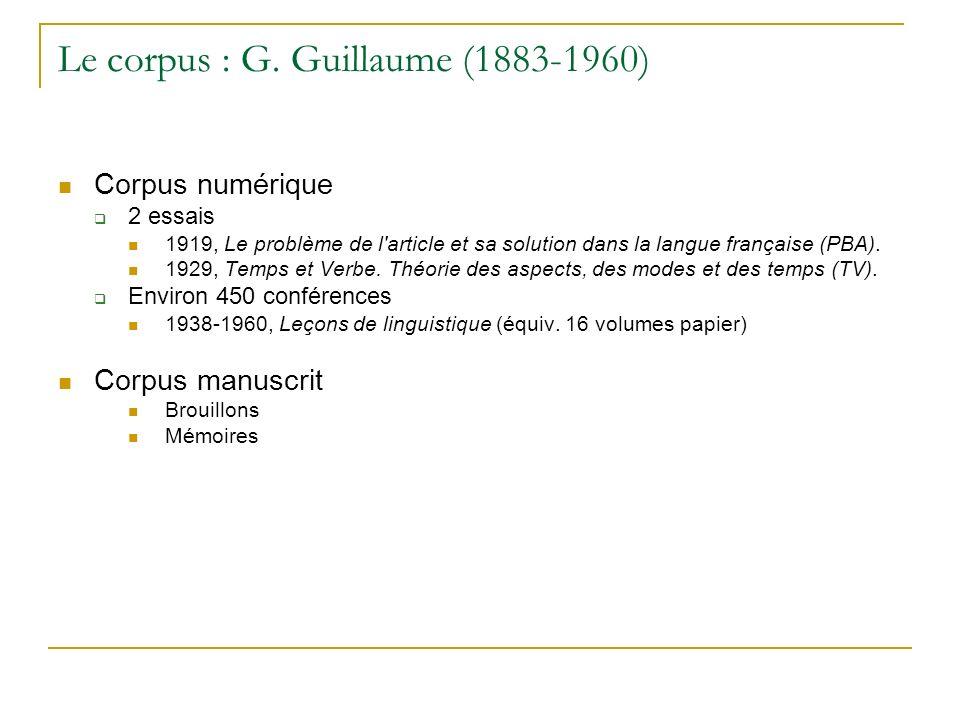 Le corpus : G. Guillaume (1883-1960)