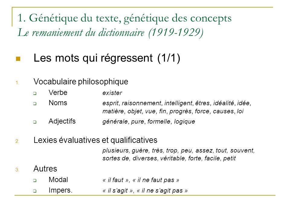 1. Génétique du texte, génétique des concepts Le remaniement du dictionnaire (1919-1929)