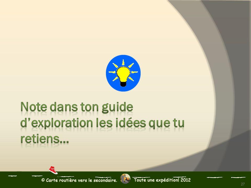 Note dans ton guide d'exploration les idées que tu retiens…