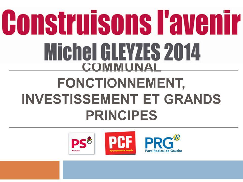 LES BASES D'UN BUDGET COMMUNAL FONCTIONNEMENT, INVESTISSEMENT ET GRANDS PRINCIPES