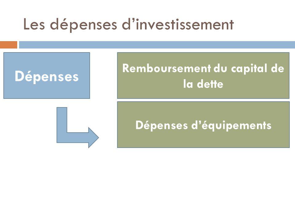 Les dépenses d'investissement
