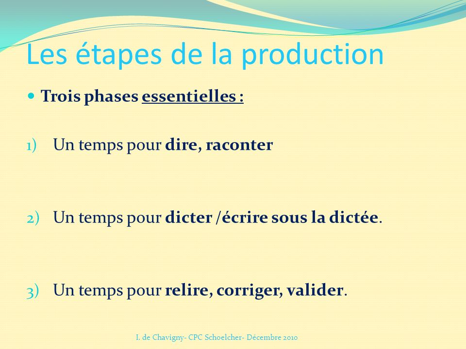 Les étapes de la production