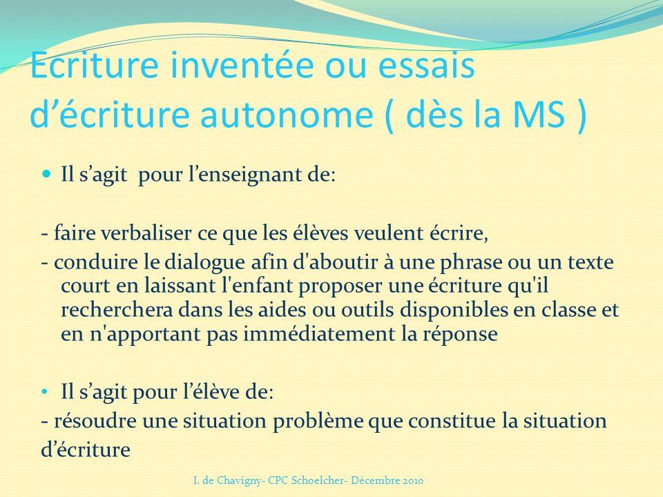 Ecriture inventée ou essais d'écriture autonome ( dès la MS )