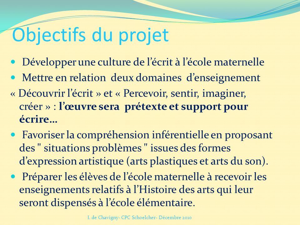 Objectifs du projet Développer une culture de l'écrit à l'école maternelle Mettre en relation deux domaines d'enseignement