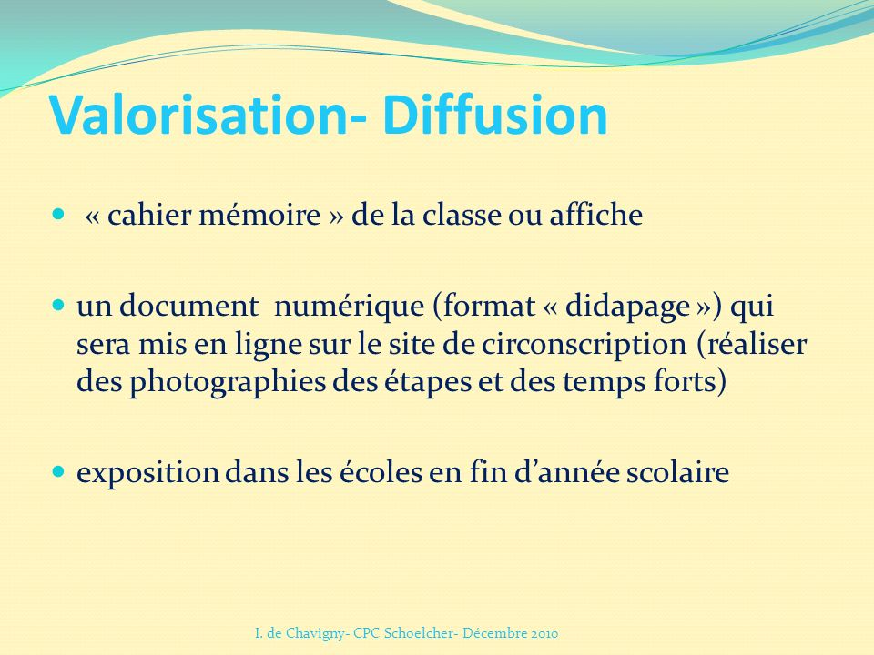 Valorisation- Diffusion