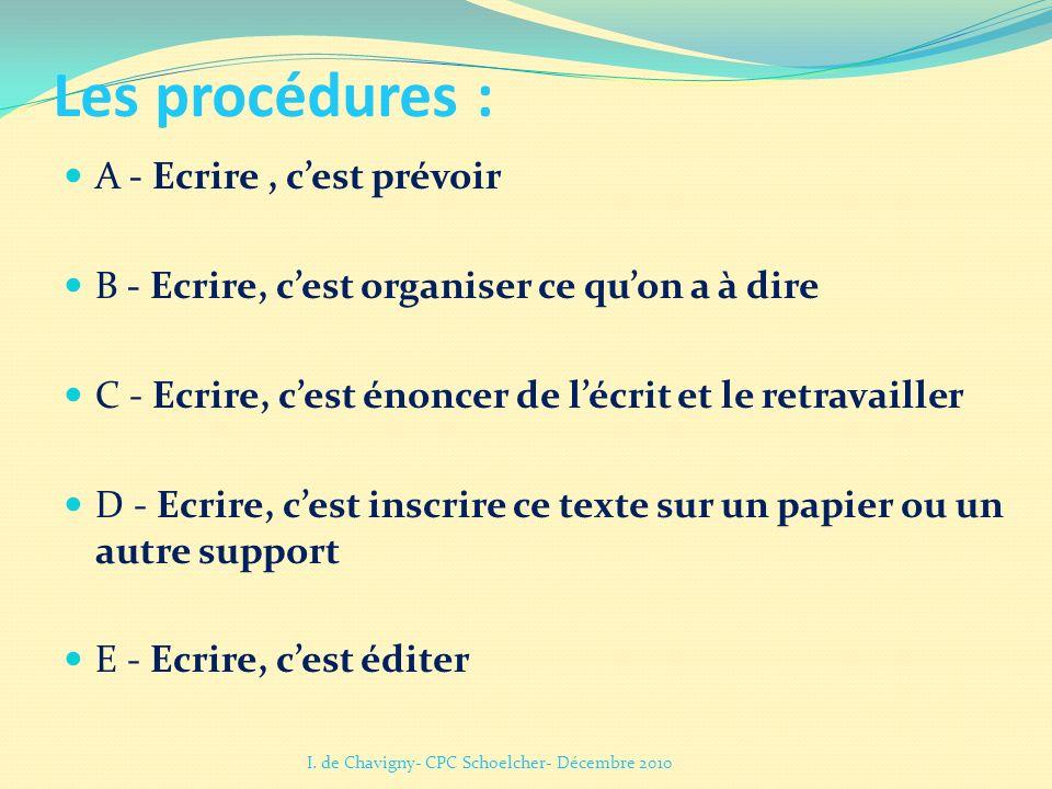 Les procédures : A - Ecrire , c'est prévoir