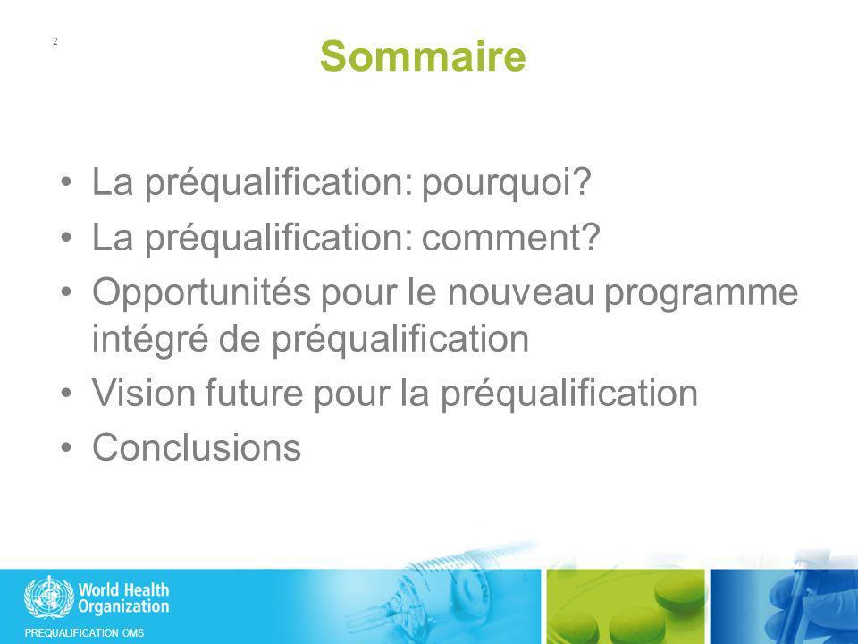 Sommaire La préqualification: pourquoi La préqualification: comment
