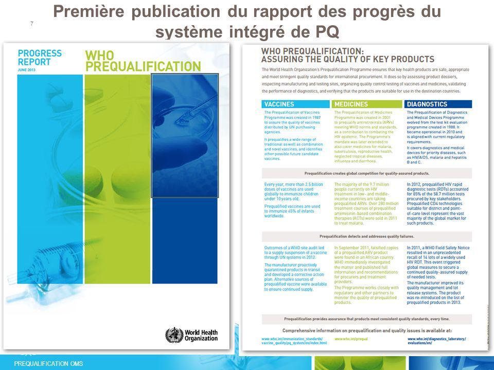 Première publication du rapport des progrès du système intégré de PQ