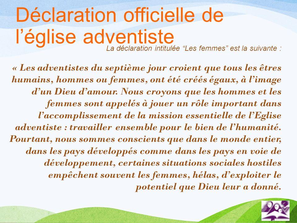 Déclaration officielle de l'église adventiste