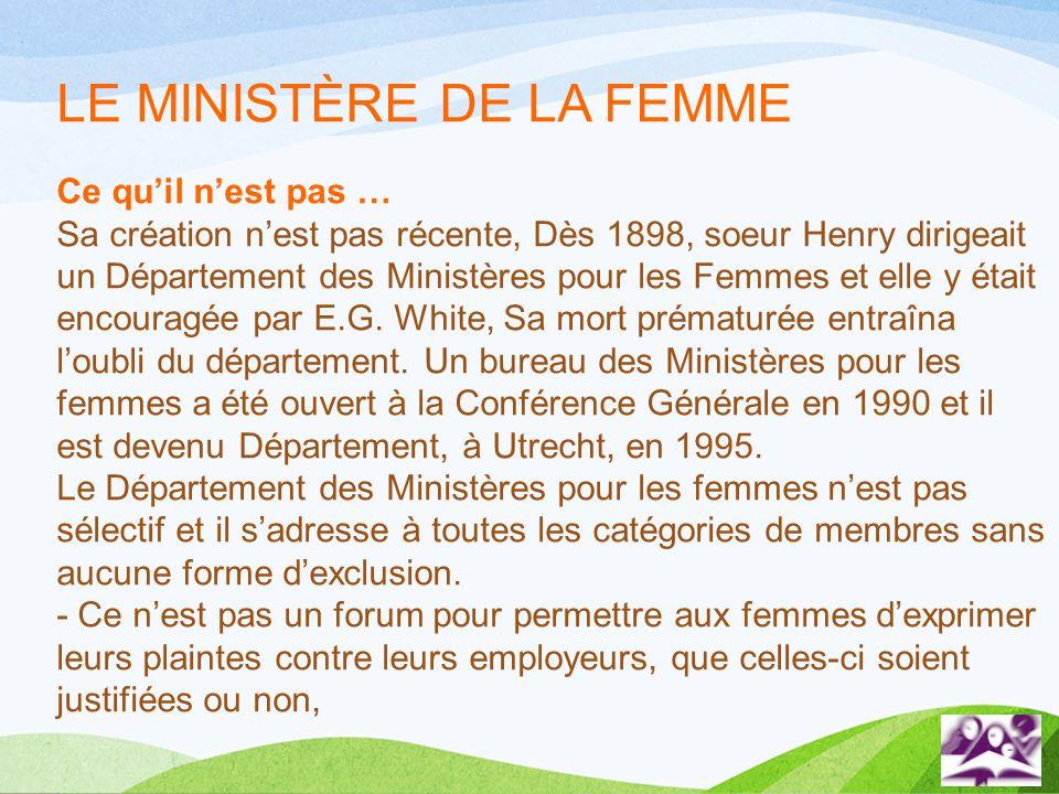 LE MINISTÈRE DE LA FEMME