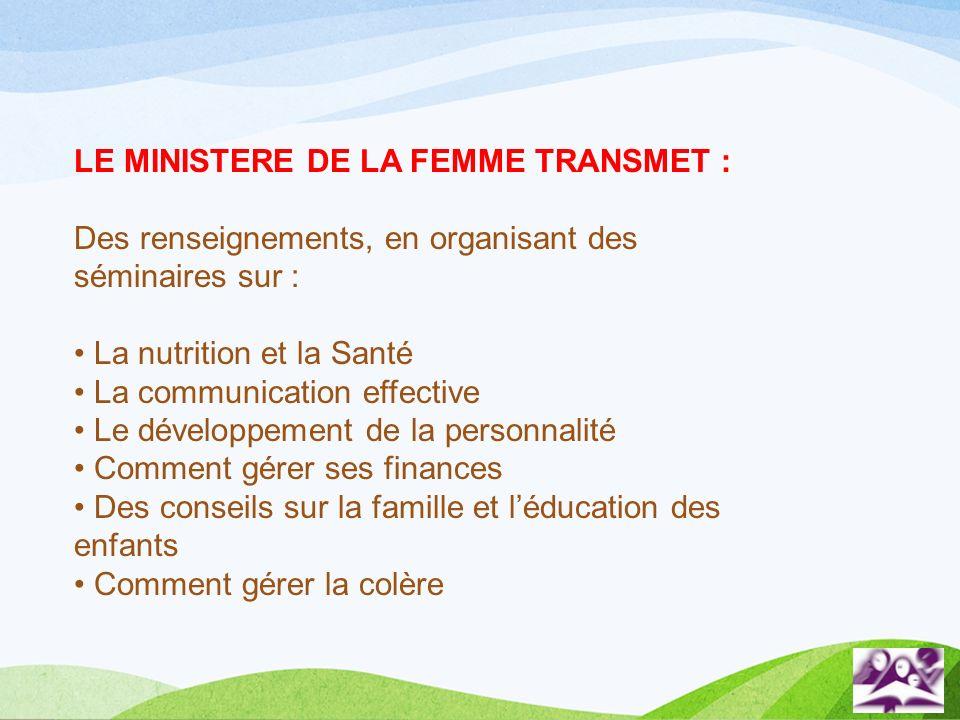 LE MINISTERE DE LA FEMME TRANSMET :