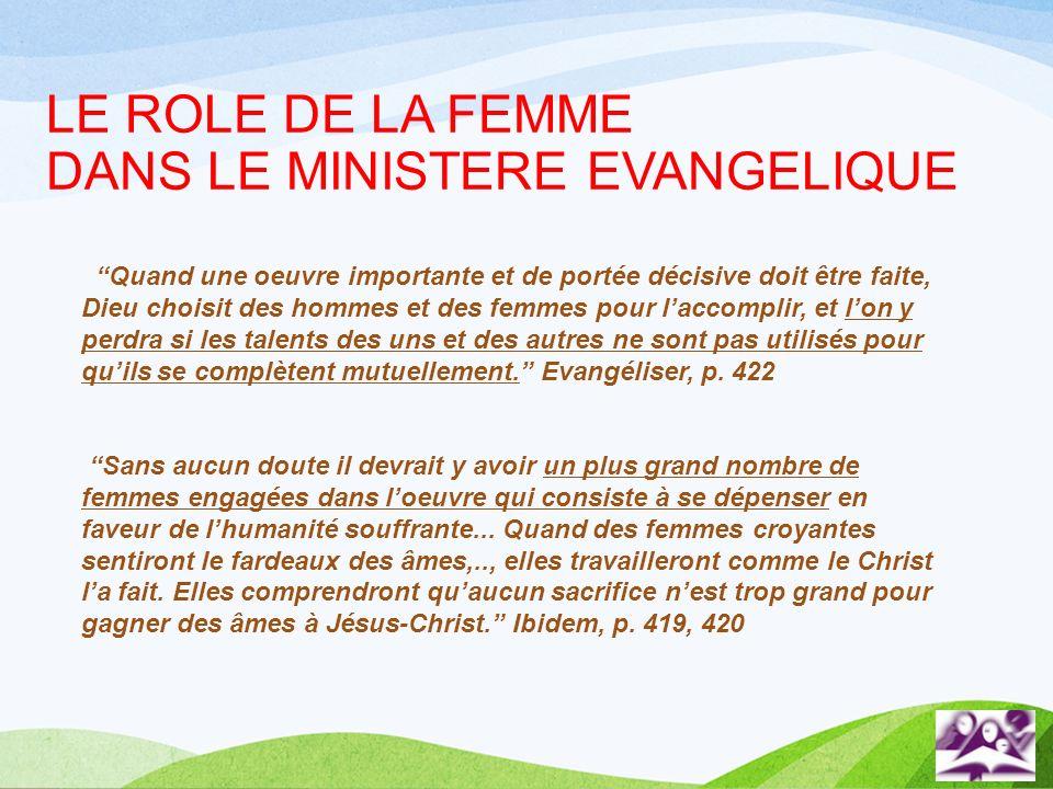 LE ROLE DE LA FEMME DANS LE MINISTERE EVANGELIQUE